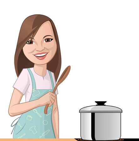 happy chef: Illustration on white background of a Woman cooking Stock Photo
