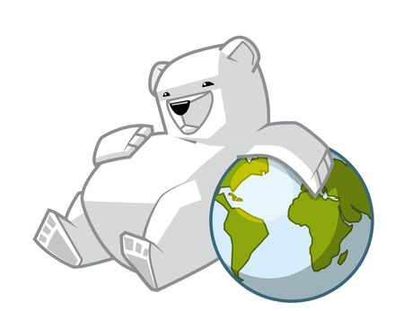 contamination: Isolated illustration of Polar bear leaning on the globe