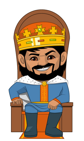 lenght: Illustration on white backgournd of The  King in his throne Stock Photo