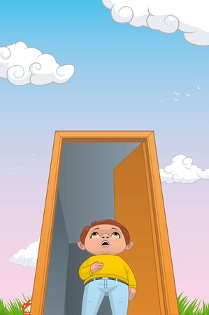 fullbody: Illustration of a child in a magic door to a fantastic world.