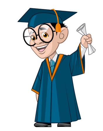 man full body: Illustration of a University student in his graduation,holding the diploma