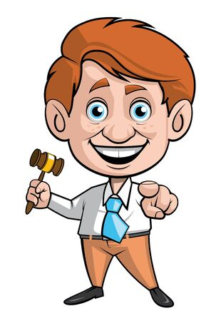 fullbody: Isolated illustration of Auction man with the gavel and pointing to the front