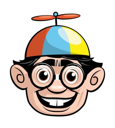 cappelli: Isolata l'illustrazione di una testa Nerd con un cappello elica Archivio Fotografico