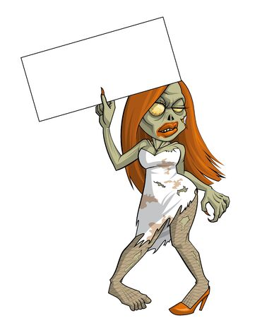 full length woman: Isolated illustration of a Zombie woman with a blank placard