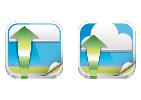 heaps: Set of two Upload photos to the cloud icons