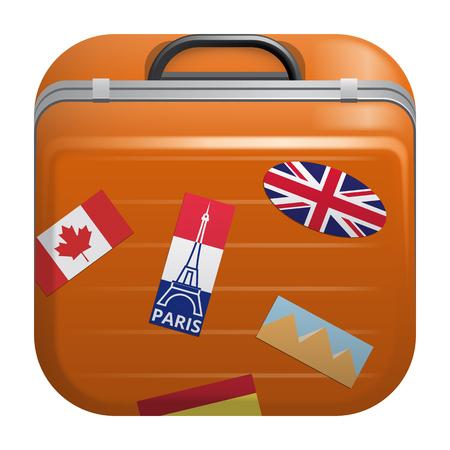 bandera de egipto: Illustration on white background of a Suitcase icon