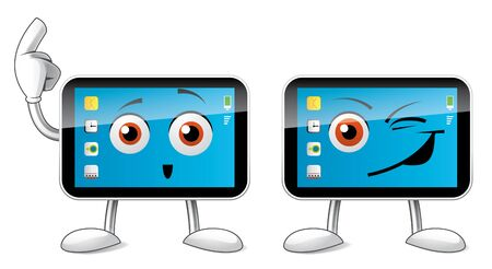 mobil: Isolated illustration of a smartphone character