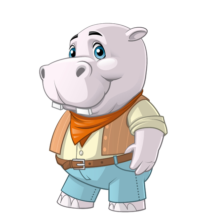 dressed: Isolated illustration on white background of a Hippo  mascot