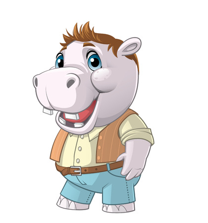 animal hair: Illustration on white background of a young hippo character
