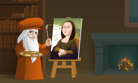 fullbody: Illustration of Leonardo da Vinci painting the Mona Lisa