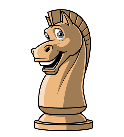 cartoon knight: Illustration on white background of  Chess Knight  mascot