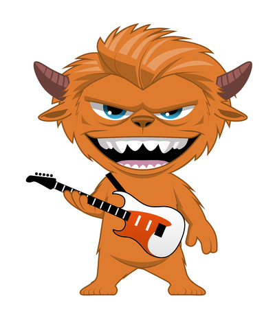 hairy: Illustration on white of a Monster rocker with an electric guitar