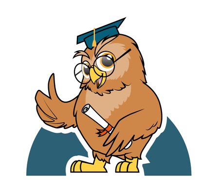 ok hand: Illustration of Owl student graduation