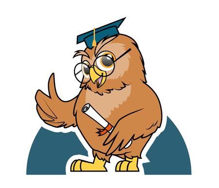 buho graduacion: Ilustraci�n de b�ho de la graduaci�n de estudiantes