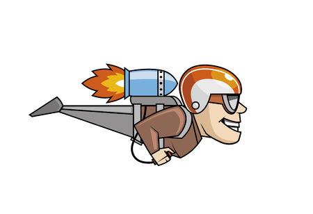 Isolated illustration of Rocket man character flying
