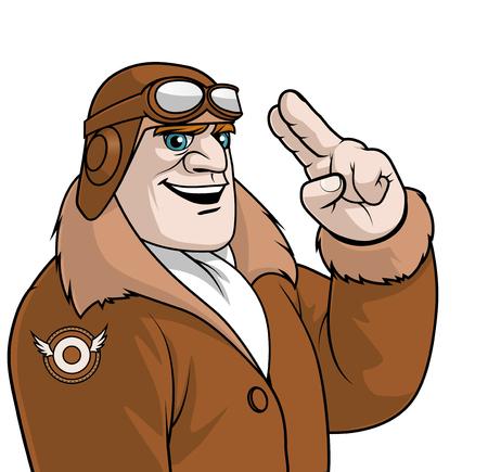 Isolated illustration of an Aviator saluting