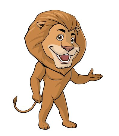 fullbody: Illustration on white background of a Lion welcome