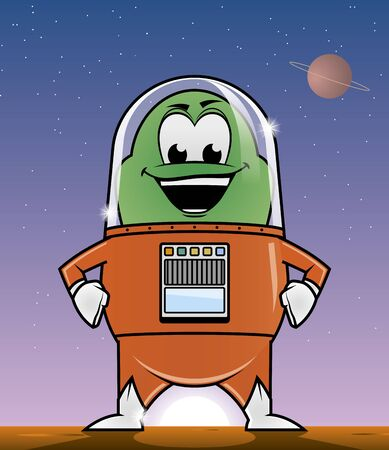 fullbody: Illustration of an alien in a planet