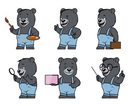fullbody: Set of bear characters in diferent poses