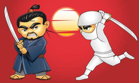 fullbody: Illustration of samurai versus ninja combat