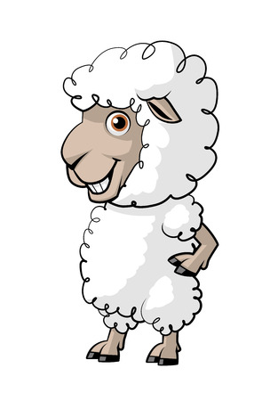 fullbody: Illustration on white background of a cartoon sheep Stock Photo