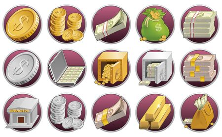 wad: Set of money icons Stock Photo