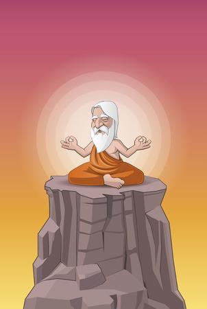 man meditating: Illustration of a old man meditating on the hill