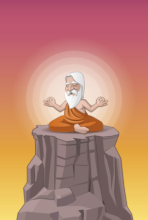 Illustration of a old man meditating on the hill