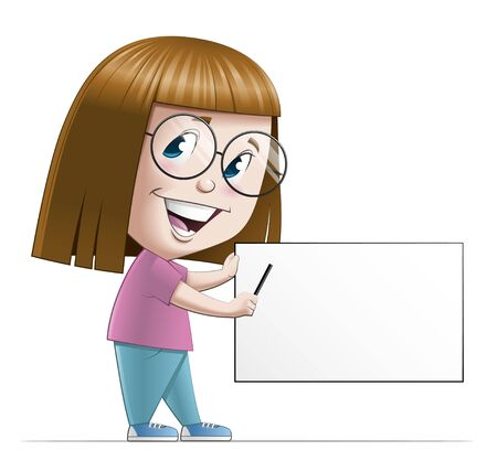 fullbody: Illustration of a girl pointing a blank sign Stock Photo