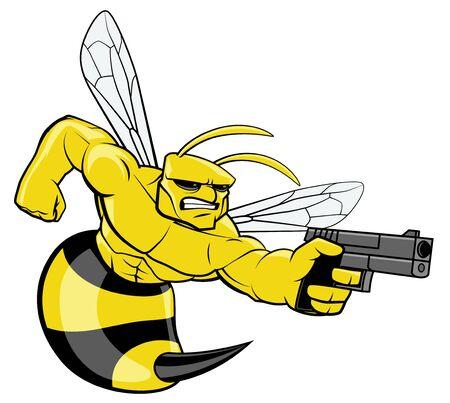 Hornet character pointing a gun Stockfoto
