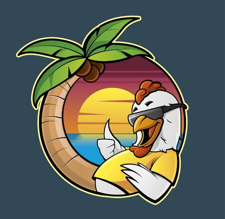 caribbean beach: Illustration of a cartoon chicken in a caribbean beach Stock Photo