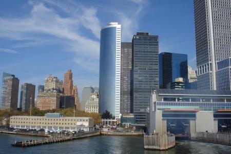staten: Staten Island Ferry Leaves Manhattan New York Stock Photo