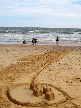 sandcastles: Sandcastles on family holiday Walberswick beach