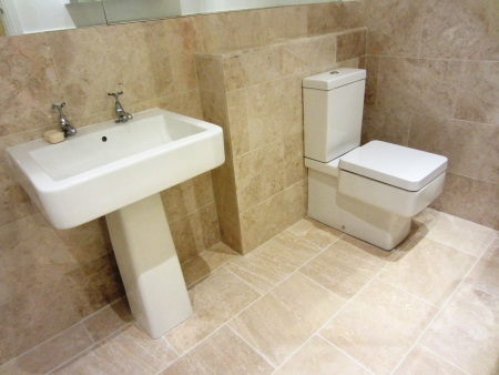 en suite: New Stone Marble Ensuite Bathroom with toilet and sink
