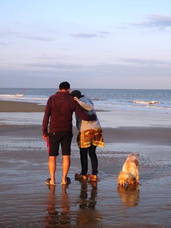 pepples: Couple and Dog on Beach