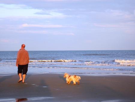 pepples: Man and Dog on Beach