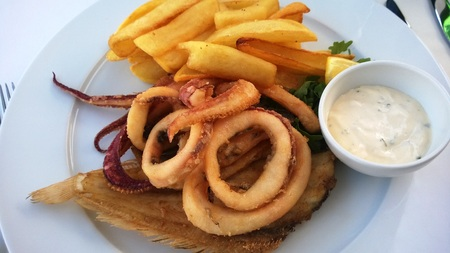 Delicious Freshly Caught Squid Calamari Fish Seafood Dish with Chips