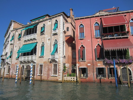 the merchant of venice: View of Rennaissance Buildings in Venice Italy from a boat on the Grand Canal Stock Photo