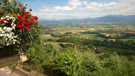 View over the valley near Monterchi in Tuscany Italy