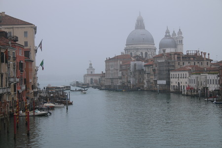A misty Spring morning on the Grand Canal in Venice Italy