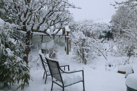 A snow scene landscape after heavy fall blizzard with a thick heavy coating of white snow over garden seats, pots, glass greenhouse, bench, espalier tree, shrubs pots and branches and leaves in Spring 스톡 콘텐츠