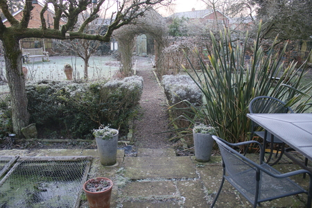 White frost cold freezing morning in English country garden with espalier pear tree lavender bush barren trees and plants greenhouse in Winter with secret door & path under a rose arch and patio furniture of table chair in Norfolk East Anglia