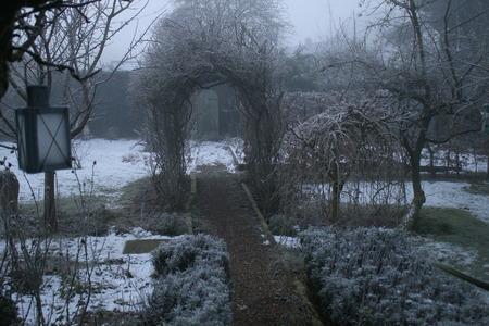Eine Winterlandschaft eines englischen Gartens in Frost und Eis mit einem alten Spalierbirnenbaum im Vordergrund, mit Sträuchern, Pflanzenbüschen, Baum, trübem weißem Milchglasgewächshaus, Gartentöpfen, Rosenbogen, Rasen und Bank