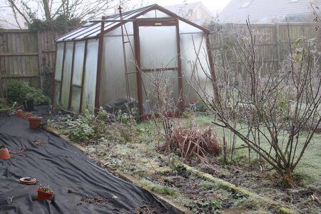 Landschaft des Bio-Wintergartens mit nebligen bewölkten Glasgewächshäusern an eiskaltem Frost-Nebel-Tag mit weißer Gefrierschicht über grünem Grasrasenpflanzen im Freien in Norfolk East Anglia England
