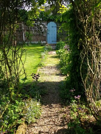 Landscape showing secret garden antique aged rustic door with blue green paint and black metal hinges at end of path by fencing with clematis flower growing at side and grass lawn in rural Norfolk seen through rose arch