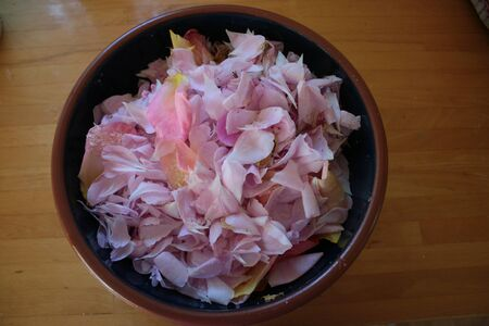 Close up of beautiful pink rose petals, in ceramic blue bowl interior, delicate flowers dried for wedding confetti grown in organic rural garden against wood surface from above looking down
