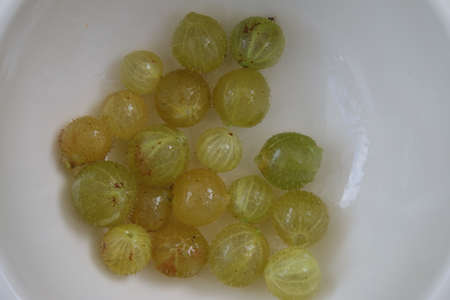 Close up of organic foraged gooseberries ripe and juicy fruit home grown harvested from English country garden gooseberry bush on white plate viewed from above looking down Stock Photo