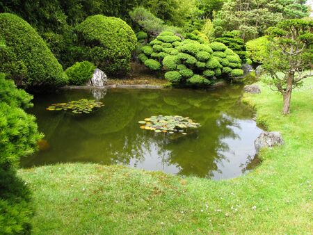 japanese garden in the middle of San Francisco Stock Photo