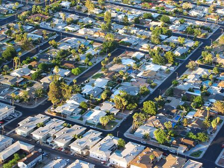 aerial photograph: aerial panoramic view of las vegas residential area   Stock Photo