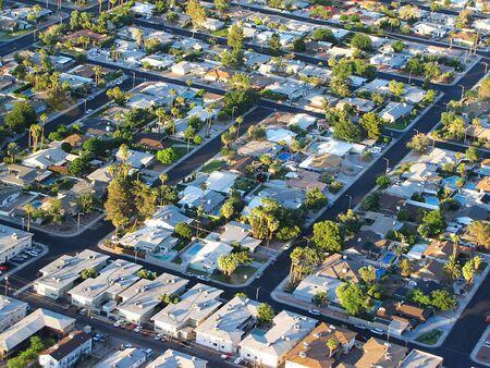 sprawl: aerial panoramic view of las vegas residential area   Stock Photo